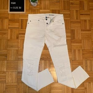 $10 ADD ON H&M White Distressed Skinny Jeans